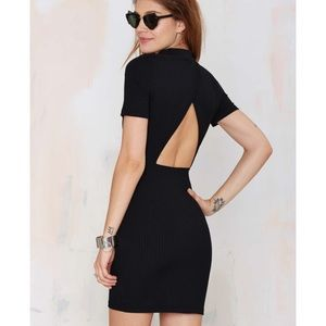 Nastygal black open cut out back bodycon dress sm